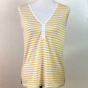 Sanctuary Laura Striped Linen V Neck Tee Small